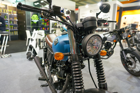MILAN, ITALY - NOVEMBER 11, 2017: Archive motorcycle is displayed at EICMA 2017 - 75th International Motorcycle Exhibition Editorial