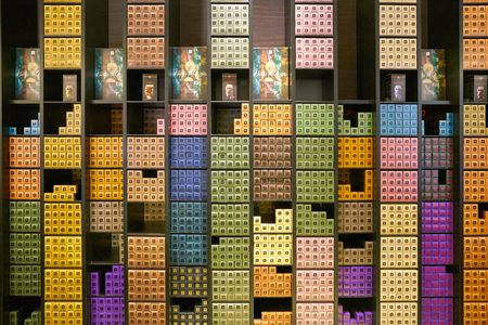MOSCOW, RUSSIA - CIRCA SEPTEMBER, 2018: assorted Nespresso capsules at a Nespresso store in Moscow, Russia.