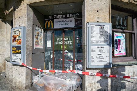 DUSSELDORF, GERMANY - CIRCA SEPTEMBER, 2018: closed entrance to McDonalds restaurant Editorial