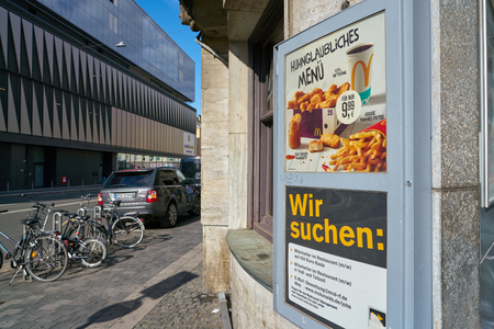 DUSSELDORF, GERMANY - CIRCA SEPTEMBER, 2018: closed McDonald's restaurant in Dusseldorf.