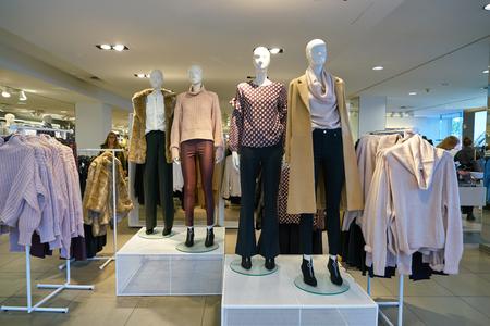 DUSSELDORF, GERMANY - CIRCA SEPTEMBER, 2018: interior shot of H&M shop in Dusseldorf.