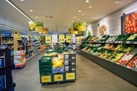 DUSSELDORF, GERMANY - CIRCA SEPTEMBER, 2018: interior shot of Netto supermarket in Dusseldorf.