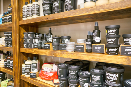 MOSCOW, RUSSIA - CIRCA SEPTEMBER, 2018: Lush cosmetics store in Moscow. 報道画像