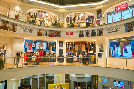 MOSCOW, RUSSIA - CIRCA SEPTEMBER, 2018: Uniqlo store in Moscow. Uniqlo Co. Ltd is a Japanese casual wear designer, manufacturer and retailer