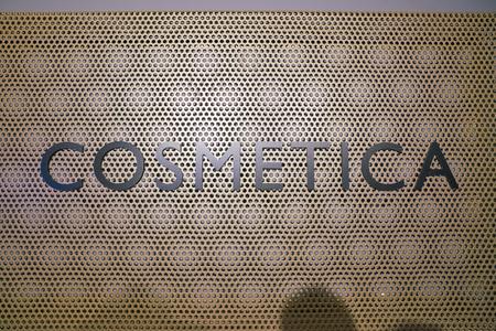 "ROME, ITALY - CIRCA NOVEMBER, 2017: close up shot of ""cosmetica"" sign. Editorial"