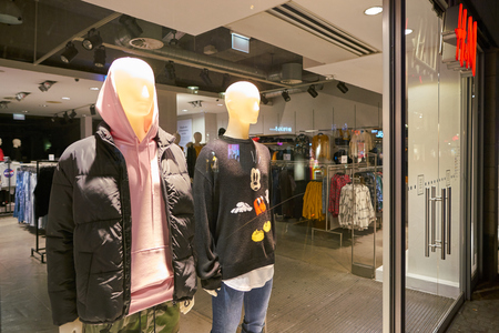 DUSSELDORF, GERMANY - CIRCA SEPTEMBER, 2018: mannequins on display at H&M shop in Dusseldorf.