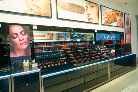 MOSCOW, RUSSIA - CIRCA SEPTEMBER, 2018: interior shot of Inglot cosmetics store in Moscow. Publikacyjne