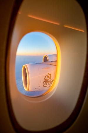 HONG KONG, CHINA - CIRCA FEBRUARY, 2019: aerial view from Emirates Airbus A380 aircraft.