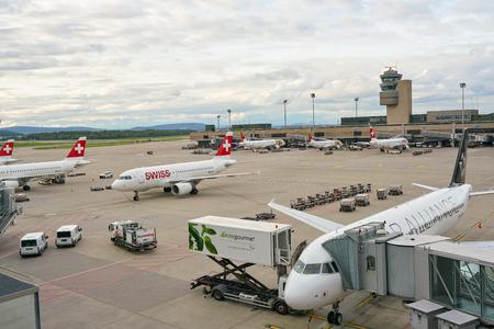 ZURICH, SWITZERLAND - CIRCA OCTOBER, 2018: aircrafts on tarmac in Zurich International Airport.