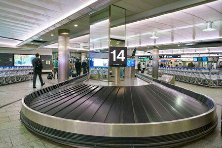 ZURICH, SWITZERLAND - CIRCA OCTOBER, 2018: baggage claim area in Zurich International Airport.