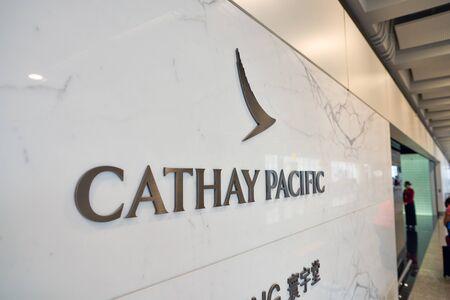 HONG KONG, CHINA - CIRCA APRIL, 2019: close up shot of Cathay Pacific sign at business class lounge in Hong Kong International Airport. Cathay Pacific is the flag carrier of Hong Kong