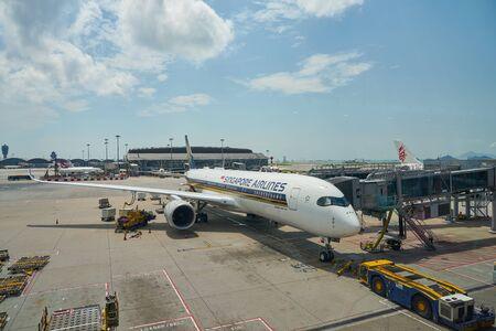 HONG KONG, CHINA - CIRCA APRIL, 2019: Singapore Airlines Airbus A350-900 on tarmac in Hong Kong International Airport.