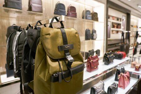 SINGAPORE - CIRCA APRIL, 2019: goods on display at Michael Kors store in Changi International Airport.