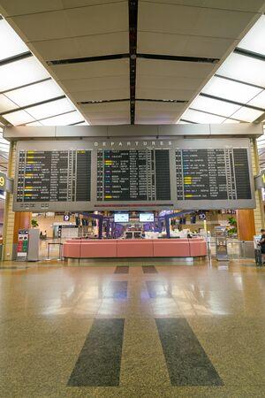 SINGAPORE - CIRCA APRIL, 2019: a flight information display at Singapore Changi International Airport.