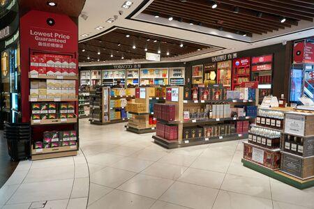 SINGAPORE - CIRCA APRIL, 2019: interior shot of DFS Wine & Spirits shop at Singapore Changi Airport. Sajtókép