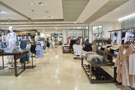 HONG KONG, CHINA - CIRCA APRIL, 2019: interior shot of Zara store in Hong Kong International Airport.