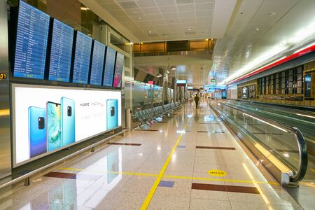 DUBAI, UAE - CIRCA JANUARY, 2019: interior shot of Dubai International Airport. 報道画像