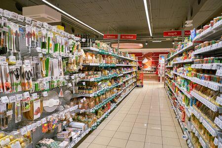 COLOGNE, GERMANY - CIRCA OCTOBER, 2018: interior shot of a REWE City supermarket in Cologne. Redakční