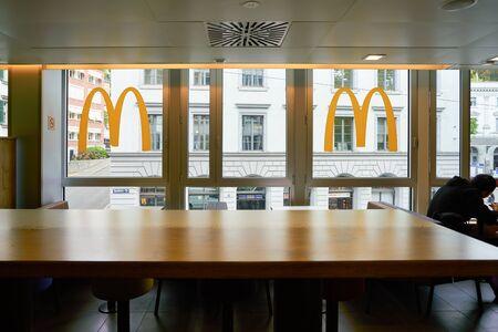 ZURICH, SWITZERLAND - CIRCA OCTOBER, 2018: interior shot of McDonald's restaurnat in Zurich.