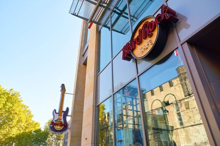 COLOGNE, GERMANY - CIRCA SEPTEMBER, 2018: Hard Rock Cafe sign on a building in Cologne. Hard Rock Cafe Inc. is a chain of theme restaurants.