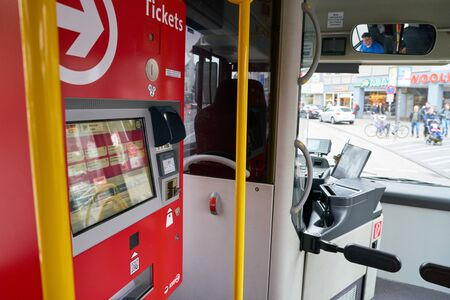 COLOGNE, GERMANY - CIRCA SEPTEMBER, 2018: a ticket machine at a bus in Cologne. A bus is a road vehicle designed to carry many passengers. Editorial