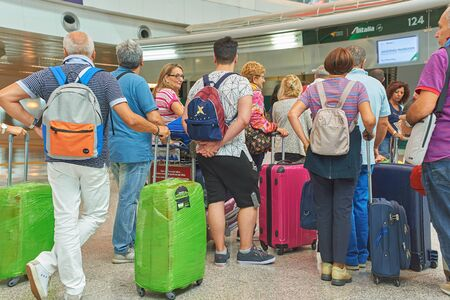 ROME, ITALY - CIRCA AUGUST, 2015: people at check-in area in Rome - Fiumicino International Airport