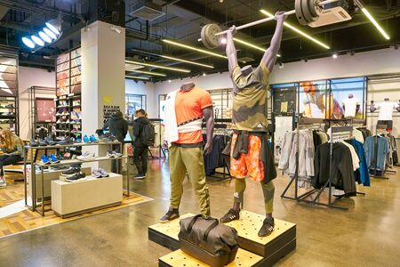 MOSCOW, RUSSIA - CIRCA MAY, 2019: interior shot of an Adidas store in Moscow.