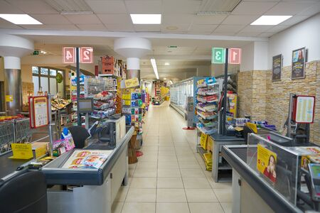 VIENNA, AUSTRIA - CIRCA MAY, 2019: interior shot of a BILLA supermarket in Vienna. BILLA is an Austrian supermarket chain.