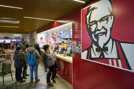 BELGOROD, RUSSIA - CIRCA DECEMBER, 2018: counter service at KFC at a shopping center in Belgorod.