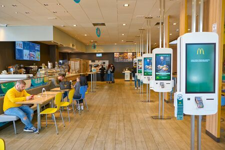 VENICE, ITALY - CIRCA MAY, 2019: self service kiosk inside McDonald's restaurant in Venice.. Editorial