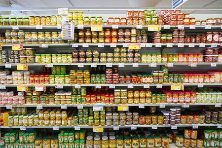 VENICE, ITALY - CIRCA MAY, 2019: interior shot of InterSPAR supermarket in Venice, Italy. 新闻类图片
