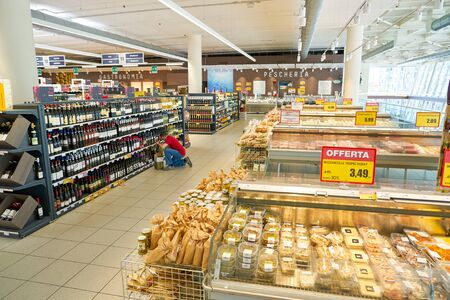 VENICE, ITALY - CIRCA MAY, 2019: interior shot of InterSPAR supermarket in Venice, Italy.