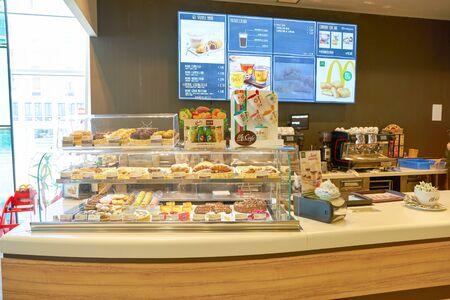 VENICE, ITALY - CIRCA MAY, 2019: McCafe counter service at McDonald's restaurant in Venice..