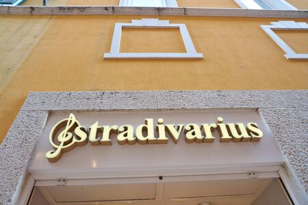 VERONA, ITALY - CIRCA MAY, 2019: Stradivarius brand name over a shop entrance in Verona. Stradivarius is an international women and men clothing fashion brand from Spain owned by the Inditex group.
