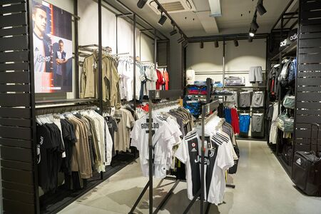 VERONA, ITALY - CIRCA MAY, 2019: interior shot of Adidas store in Verona.