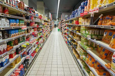 VERONA, ITALY - CIRCA MAY, 2019: interior shot of Pam supermarket in Verona.