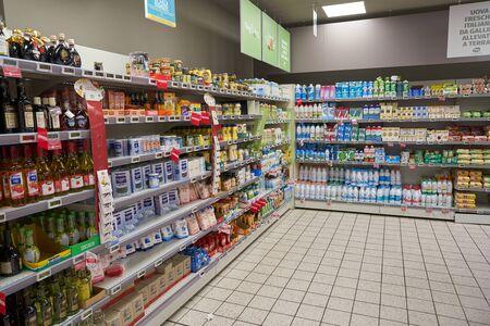 VERONA, ITALY - CIRCA MAY, 2019: interior shot of Pam supermarket in Verona. Editorial