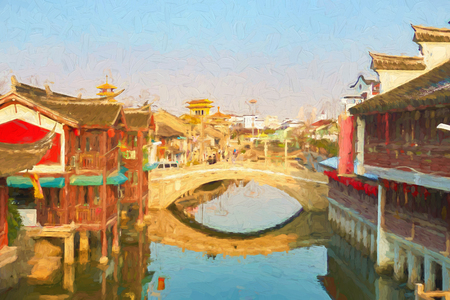 View of Qibao Old Town in Shanghai in the daytime.