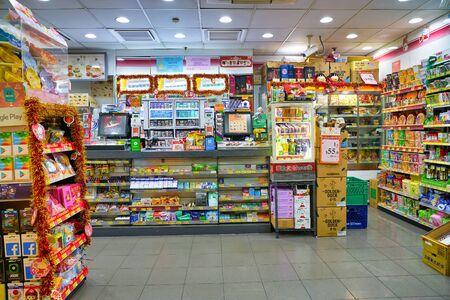 HONG KONG, CHINA - CIRCA JANUARY, 2019: interior shot of 7-eleven convenience store in Hong Kong.