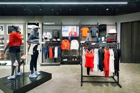 SHENZHEN, CHINA - CIRCA APRIL, 2019: interior shot of Descente store in Shenzhen.