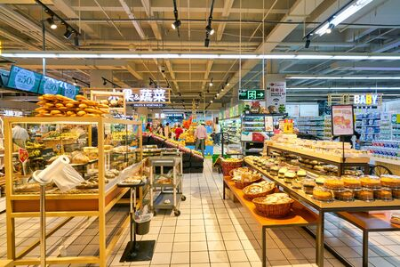SHENZHEN, CHINA - CIRCA APRIL, 2019: interior shot of Carrefour Le Marche supermarket in Shenzhen.