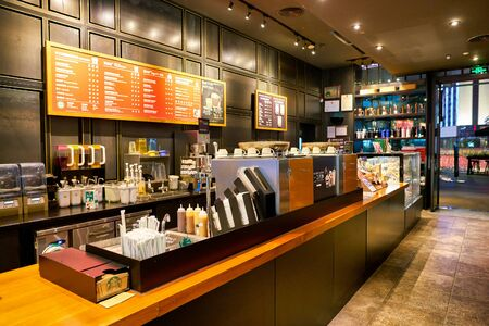 SHENZHEN, CHINA - CIRCA FEBRUARY, 2019: interior shot of Starbucks in Shenzhen.