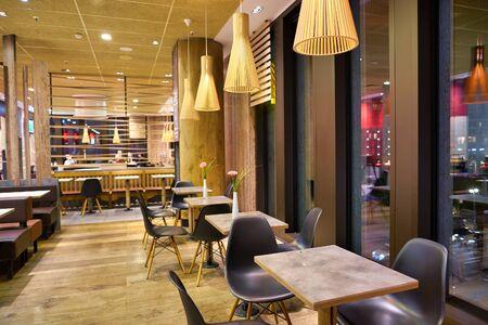 BERLIN, GERMANY - CIRCA SEPTEMBER, 2019: interior shot of McDonald's restaurant in Mall of Berlin.