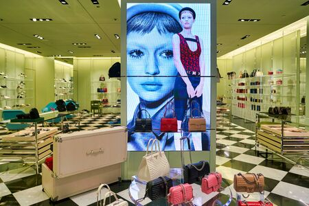 SINGAPORE - CIRCA APRIL, 2019: interior shot of Prada store in The Shoppes at Marina Bay Sands.