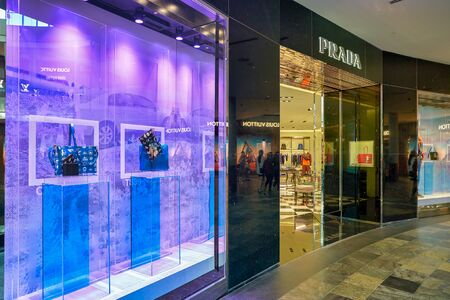 SINGAPORE - CIRCA APRIL, 2019: display window and entrance at Prada store in The Shoppes at Marina Bay Sands.