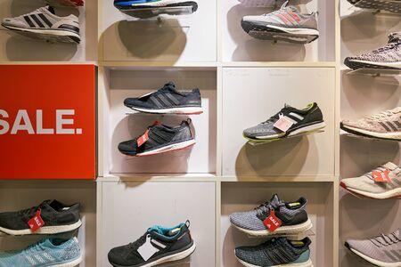 HONG KONG, CHINA - CIRCA JANUARY, 2019: footwear on display at Adidas store in Hong Kong.