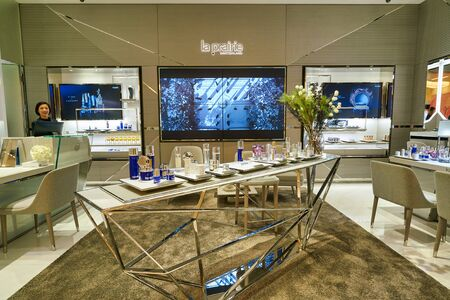 HONG KONG, CHINA - CIRCA JANUARY, 2019: personal care products on display at La Prairie store in New Town Plaza shopping mall