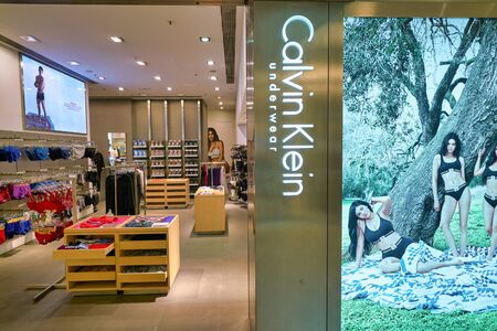 HONG KONG, CHINA - JANUARY 23, 2019: Calvin Klein storefront at New Town Plaza shopping mall in Sha Tin. Editorial