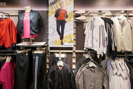 HONG KONG, CHINA - CIRCA JANUARY, 2019: clothes on display at Adidas store in Hong Kong.