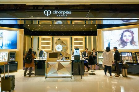 HONG KONG, CHINA - CIRCA JANUARY, 2019: personal care on display at Cle de Peau store in New Town Plaza shopping mall Éditoriale